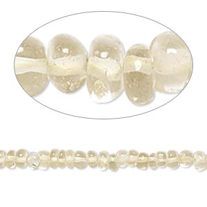 Bead, lemon quartz (heated), 3x2mm-4x3mm hand-cut rondelle, B- grade, Mohs hardness 7. Sold per 14-inch strand.