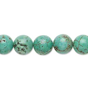 Bead, magnesite (dyed / stabilized), green, 9-10mm round, C- grade, Mohs hardness 3-1/2 to 4. Sold per 15-inch strand.
