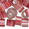 Bead mix, Fire Design Beads, cane glass, clear / pink / white, 12x8mm-16x13mm round tube with 4.5-7mm hole. Sold per 1-ounce pkg, approximately 10 beads.