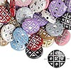 Bead mix, acrylic, mixed colors, 18mm double-sided flat round with tic-tac-toe design, 2mm hole. Sold per pkg of 50.