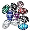 Bead mix, aluminum, mixed colors, 17x12mm diamond-cut oval with 3.5mm hole. Sold per pkg of 10.
