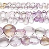 Bead mix, amethyst / ametrine / citrine (natural / heated), 5x5mm-18x18mm hand-cut top-drilled puffed teardrop, Mohs hardness 7. Sold per pkg of (3) 8-inch strands.