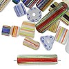 Bead mix, cane glass, mixed colors, 5x4mm-25x4mm mixed shape. Sold per 1-ounce pkg, approximately 25-45 beads.