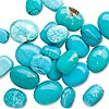 Bead mix, chalk turquoise (dyed / stabilized), blue, medium to extra-large nugget. Sold per 1/2 pound pkg, approximately 25-35 beads.