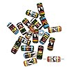 Bead mix, glazed ceramic, multicolored, 15x7mm-17x8mm round tube with hand-painted geometric design. Sold per pkg of 20.