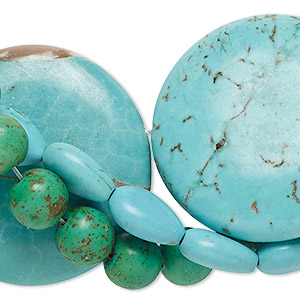 Bead mix, magnesite (dyed / stabilized), mixed colors, 8mm-40x30mm mixed shape, C- grade, Mohs hardness 3-1/2 to 4. Sold per pkg of (3) 15-inch strands.