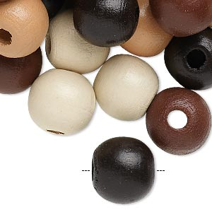 Bead mix, painted wood, mixed colors, 13-14mm irregular round. Sold per 400-gram pkg, approximately 550 beads.