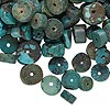 Bead mix, turquoise (dyed / stabilized / waxed), blue, 4x3mm-10x4mm heishi, Mohs hardness 5 to 6. Sold per 1/4 pound pkg, approximately 370 beads.