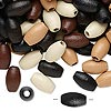 Bead mix, wood, mixed colors, 10x6mm oval. Sold per 400-gram pkg, approximately 4,000 beads.