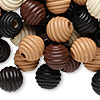 Bead mix, wood, mixed colors, 15-16mm fluted round. Sold per 400-gram pkg, approximately 400 beads.
