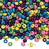 Bead mix, wood, mixed colors, 3x2mm rondelle. Sold per 90-gram pkg, approximately 9,000 beads.