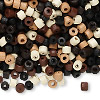 Bead mix, wood, mixed colors, 4x3mm heishi. Sold per 90-gram pkg, approximately 4,600 beads.