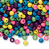 Bead mix, wood, mixed colors, 4x3mm rondelle. Sold per 90-gram pkg, approximately 4,600 beads.