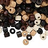 Bead mix, wood, mixed colors, 5x4mm heishi. Sold per 90-gram pkg, approximately 2,400 beads.