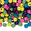 Bead mix, wood, mixed colors, 5x5mm cube. Sold per 400-gram pkg, approximately 6,000 beads.