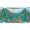 "Bead, mosaic ""turquoise"" (dyed / assembled), blue, 30x22mm rectangle, Mohs hardness 3-1/2 to 4. Sold per pkg of 6."