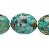"Bead, mosaic ""turquoise"" (dyed / assembled), blue-green, 23x18mm-25x20mm puffed oval, C grade, Mohs hardness 3-1/2 to 4. Sold per 15-inch strand."