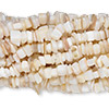 Bead, mother-of-pearl shell (bleached), medium chip. Sold per pkg of (10) 36-inch strands.