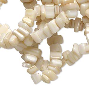 Bead, mother-of-pearl shell (natural), small chip, Mohs hardness 3-1/2. Sold per 36-inch strand.