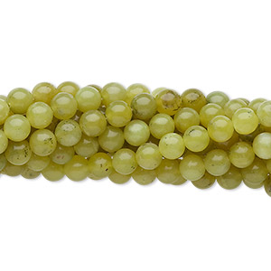 "Bead, olive new ""jade"" (natural), 4mm round, C grade, Mohs hardness 2-1/2 to 6. Sold per pkg of (10) 16-inch strands."