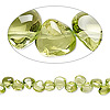 Bead, peridot (natural), 4x4mm-6x5mm hand-cut top-drilled puffed teardrop, B grade, Mohs hardness 6-1/2 to 7. Sold per 7-inch strand.