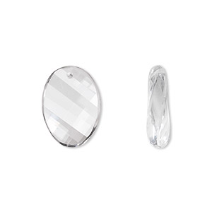 Bead, quartz crystal (natural), 16x12mm twisted faceted oval, B grade, Mohs hardness 7. Sold per pkg of 2.