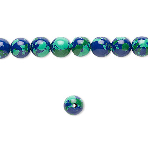 Bead, resin, dark blue / green / turquoise blue, 6mm round. Sold per 16-inch strand.