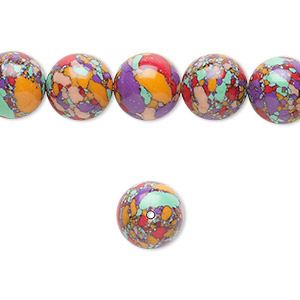 Bead, resin, multicolored, 10mm round with mosaic design. Sold per 16-inch strand.