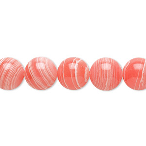 Bead, resin, white and pink, 10mm round. Sold per 16-inch strand.