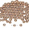 Bead, rose gold-plated brass, 4mm round. Sold per pkg of 100.