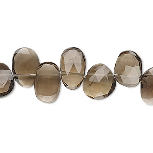 Bead, smoky quartz (heated / irradiated), 10x7mm-14x10mm hand-cut top-drilled faceted puffed teardrop and oval, B grade, Mohs hardness 7. Sold per 4-inch strand.
