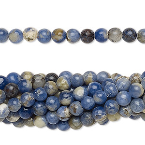 Bead, sodalite (natural), 4mm round, C grade, Mohs hardness 5 to 6. Sold per pkg of (10) 16-inch strands.