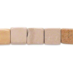 Bead, tan marble (natural), 9x9mm-10x10mm flat square, C grade, Mohs hardness 3. Sold per 15-inch strand. Minimum 4 per order.
