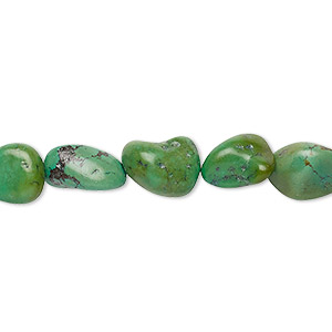 Bead, turquoise (dyed / stabilized), green, mini to medium hand-cut nugget, Mohs hardness 5 to 6. Sold per 15-inch strand.
