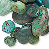 Bead, turquoise (dyed / stabilized), green, small to extra-large nugget, Mohs hardness 5 to 6. Sold per 100-gram pkg.