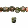 Bead, unakite (natural), mini to small tumbled faceted pebble, Mohs hardness 6 to 7. Sold per 16-inch strand.