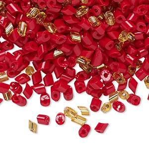 Bead, vintage Czech glass, opaque red and transparent gold, 3x2mm-5x3mm parallelogram. Sold per 1.5-ounce pkg, approximately 1200 to 1300 beads.