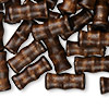Bead, wood (dyed / coated), dark brown, 16x7mm hand-cut bamboo. Sold per pkg of 500.