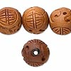 "Bead, wood (waxed), 16mm carved round with ""good luck"" symbol. Sold per 16-inch strand."