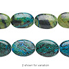 "Bead, yellow ""turquoise"" (dyed / coated), blue, 30x20mm-30x22mm flat oval, D- grade, Mohs hardness 2-1/2 to 6. Sold per 15-inch strand."