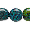 "Bead, yellow ""turquoise"" (dyed), blue and green, 19-20mm flat round, C grade, Mohs hardness 2-1/2 to 6. Sold per 15-inch strand."