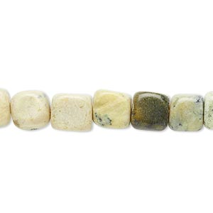 "Bead, yellow ""turquoise"" (natural), small to medium pebble, Mohs hardness 2-1/2 to 6. Sold per 15-inch strand."