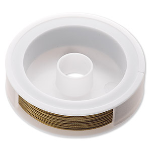 Beading wire, Tigertail™, nylon-coated stainless steel, gold, 7 strand, 0.024-inch diameter. Sold per 100-foot spool.