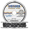 Beading wire, Wonder Wiggle Wire®, stainless steel and nylon, black, 0.02-inch diameter. Sold per 15-foot spool.