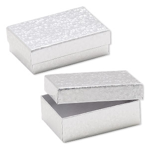 Box, paper, cotton-filled, silver, 3-1/4 x 2-1/4 x 1-inch rectangle. Sold per pkg of 100.
