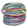 Bracelet, bangle, aluminum, assorted neon colors with glitter, 2.5-7mm wide, 2-1/2 inch inside diameter. Sold per 24-piece set.
