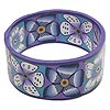 Bracelet, bangle, polymer clay, purple and multicolored, 31mm wide with 60mm diameter, fits up to 7-1/2 inches. Sold individually.