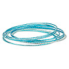 Bracelet, bangle, steel, light teal blue / teal blue / dark teal blue, 1mm wide, 2-1/2 inch inside diameter. Sold per 12-piece set.