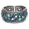 "Bracelet, cuff, acrylic / Chinese glass rhinestone / antiqued silver-finished ""pewter"" (zinc-based alloy), turquoise blue and light blue, 32mm wide with flower and leaf design, adjustable. Sold individually."