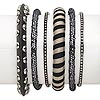 Bracelet mix, bangle, wood / plastic / polyester / antiqued silver-finished steel, black and silver, 3-10.5mm wide with mixed design, 2-1/2 inch inside diameter. Sold per pkg of 6.